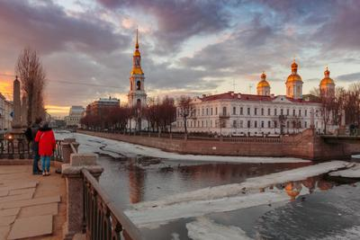 Романтический апрельский вечер на Крюковом канале Санкт-Петербург вечер река отражение двое весна храм вода лёд