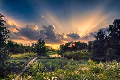 Я вдыхаю ароматы лета И меня счастливей в мире нет солнце светопись река Пейзаж облака небо лучи лето красивое закат