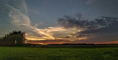 Ещё один закат ... осень природа пейзаж закат Россия небо облака