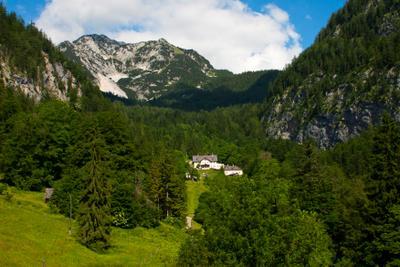 *** лес горы небо облака австрия домик