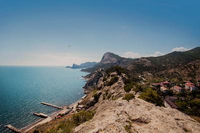 Горное побережье Крым Судак Чёрное море горы побережье путешествие небо sky mountains Crimea Black sea