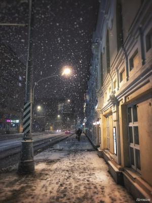 Ночь, улица, фонарь Москва снег фонарь ночь улица