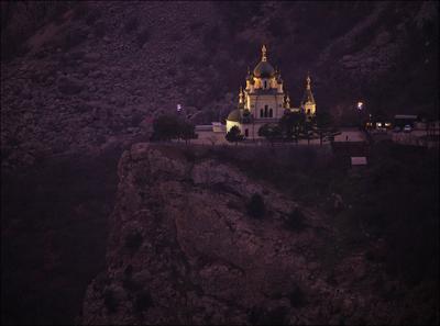 Храм Воскресения Крым Форос храм ночь церковь
