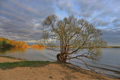 На закате дня можайское водохранилище