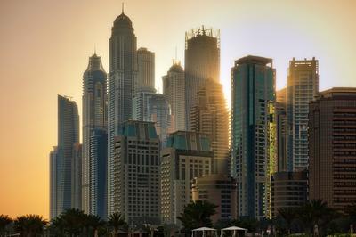 Dubai Marina. Sunshower/Грибной дождь. Dubai Marina Дубаи Марина