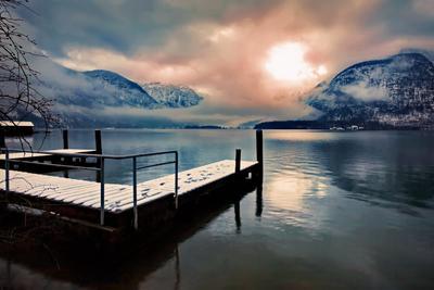 Звезда Пандоры горы небо облака солнце звезда туман природа пейзаж Хальштеттер озеро отражение Австрия Кольцов Юрий Юрьевич juriy68