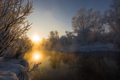 Зимняя река в - 25 Зимняя река мороз восход