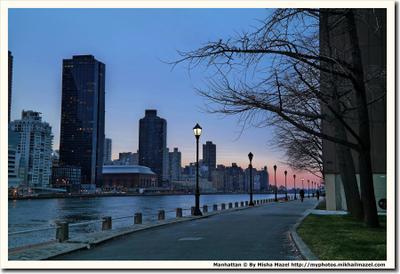 Manhattan from Roosevelt Island США Манхеттен Нью-Йорк