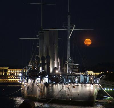 Ночная встреча Авроры и Дианы аврора, луна, петербург