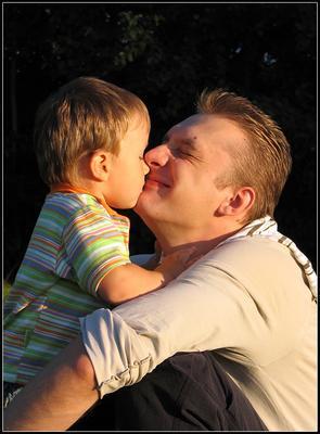 Папино счастье портрет, семья, дети, радость, лето