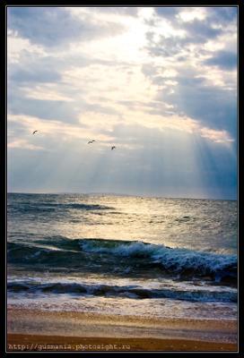 Морская Крым Азовское море небо луч солнце волны пляж берег свет