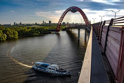 Живописный мост мост река лето пароход
