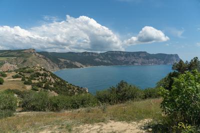 Побережье Балаклавы Балаклава Крым Чёрное море облака горы лето пейзаж