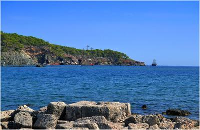 Прощальный взгляд на Фаселис... Турция Кемер Фаселис море корабли камни горы пляж