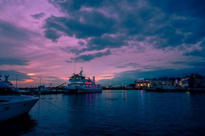 Январские зарисовки море порт гавань Сочи вечер пейзаж яхты закат