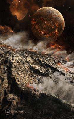 Volcania | Вулкания вулкания планета космос будущее астероид вулкан дым фантастика туманность звезды лава поверхность горячий красный оранжевый
