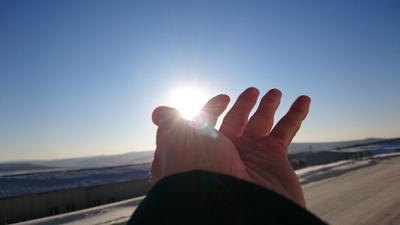 Солнечные волны солнце небо зима