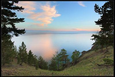 Байкальский штиль байкал штиль закат озеро небо розовые облака