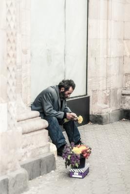 Продавец цветов мужчина цветы продажа бедность мелкий бизнесс выживание