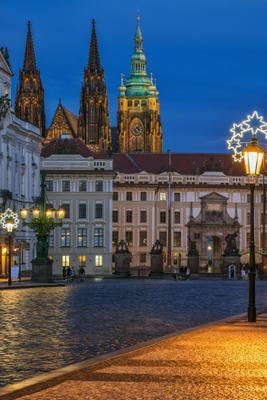 Вечерняя Прага. Вид на собор Св. Вита. Прага Новый год Собор Св.Вита