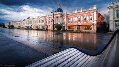 Дождливый день в Омске Омск город архитектура провинция Россия отражение регион Сибирь дождь фасад история
