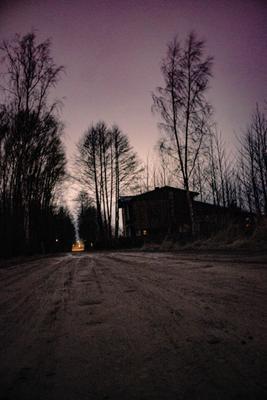 Путь Домой ночь пейзаж природа свет небо дорога деревья путь