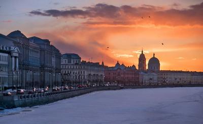 Василеостровские закаты Санкт-Петербург набережная Макарова церковь святой Екатерины