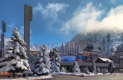 Стадион Медео Алматы горы зима Медео