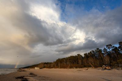 *** пляж радуга луна облака
