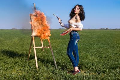 *** Весна художник картина огонь мольберт