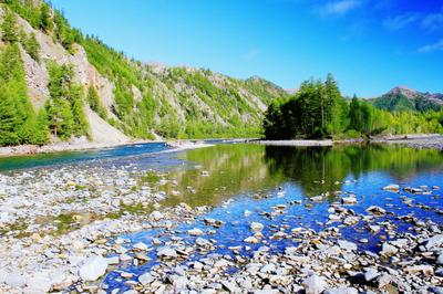 Затерянный мир-Колыма Сопки вода река отражение лес небо