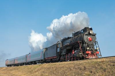 Наш паровоз! паровоз ржд железная дорога рельсы дым поезд вагон Лебедянка ЛВ-0182
