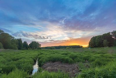 *** поле деревня лес закат речка облака