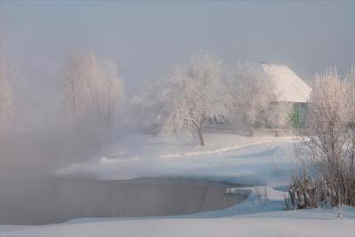 дом у зимнего пруда... путешествия живописные места домик у пруда