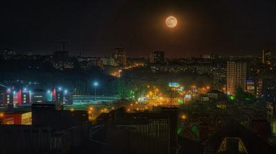 Полнолуние Ростов-на-Дону ночь небо город луна
