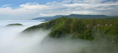Тихий океан куилы, океан, туман, горы