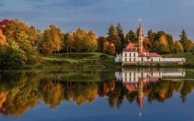 Осень в Гатчине пейзаж осень озеро природа архитектура дворец