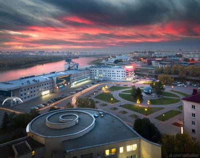 Омск, пл.Бухгольца Омск город архитектура провинция река Россия закат отражение регион Сибирь