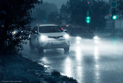 Триллер... Екатеринбург вечер город дождь автомобили
