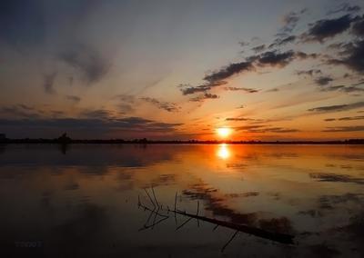 Обской закат Сибирь лето река Обь закат