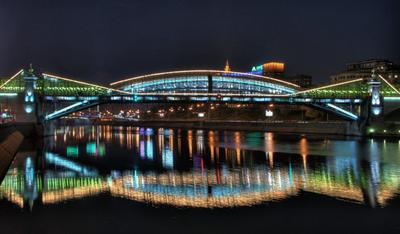 Мост Богдана Хмельницкого Мост, ночь, отражения в воде