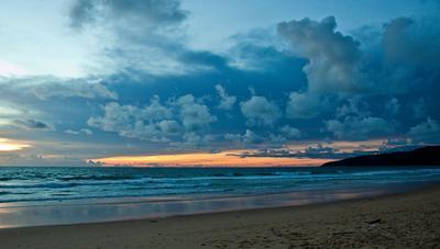 вечерний пляж Пхукет, закат, Ката-бич, тайланд