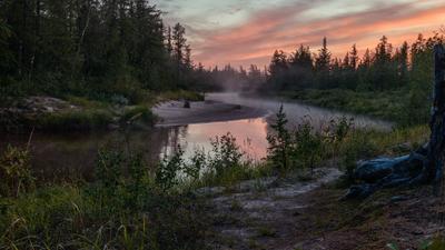 Белые ночи заполярья пейзаж река туман север