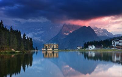 Вечер на озере Мизурина мизурина, италия, природа, пейзаж, горы, доломиты, альпы, отражение, тренто