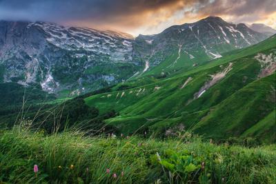 Заснеженный Фишт в июле вечер горы фишт оштен адыгея лагонаки путешествие восхождение россия отпуск поход облака закат краски поляна зелень сочность ледник луга альпика холмы