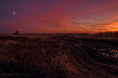 Красные сумерки пейзаж вечер закат сумерки