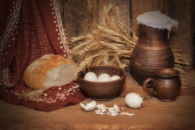 Деревенский Крынка колоски яички хлеб