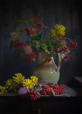 С калиной (4) осень дача калина букет кувшин цветы