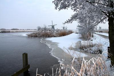 Голландские зимы Kinderdijk Holland