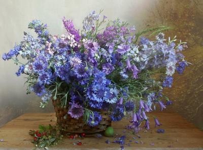 Васильки, васильки... Натюрморт васильки букет цветов